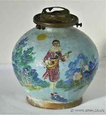 Antique French hand painted ceramic table lamp base
