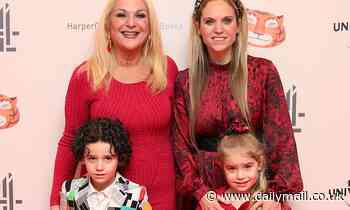 Vanessa Feltz and family look festive in red for The Tiger Who Came to Tea screening