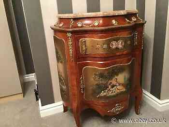 French Commode Louis 15th Style Painted Panels,marble Top , Ormulo ,kingswood