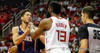 James Harden, Devin Booker scuffle after hard foul (video)