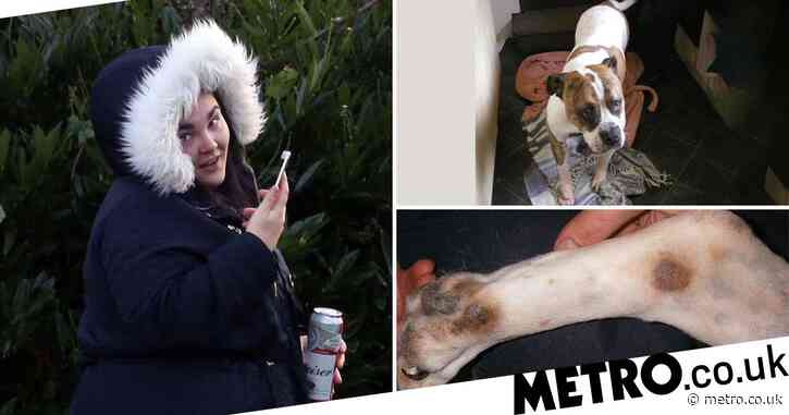 Woman swills can of beer outside court after admitting cruelty to her dog