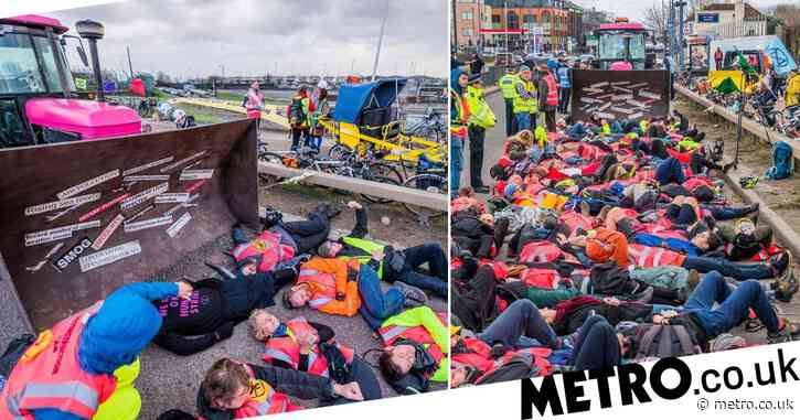Extinction Rebellion block roads outside Heathrow Airport
