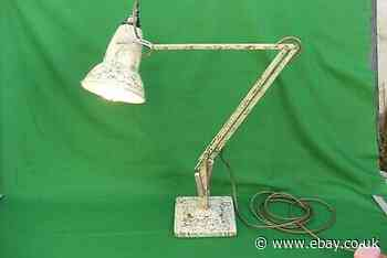 Vintage Herbert Terry Anglepoise Lamp Cream & Gold Scumble