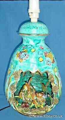 Fab Huge Retro Sea Life Italian French Vallauris? Hand Painted Ceramic Lamp Base