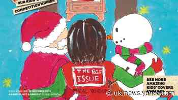 Winner of children's competition to design festive front cover of Big Issue
