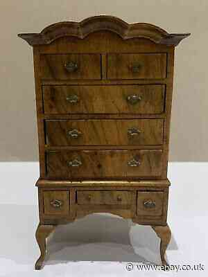 APPRENTICE PIECE MODELLED AS A GEORGE III WALNUT CHEST ON STAND, 16cm HIGH