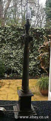"Vintage Large Corinthian Brass Lamp Base 23"" , With Shade Holder LOFT FIND Works"