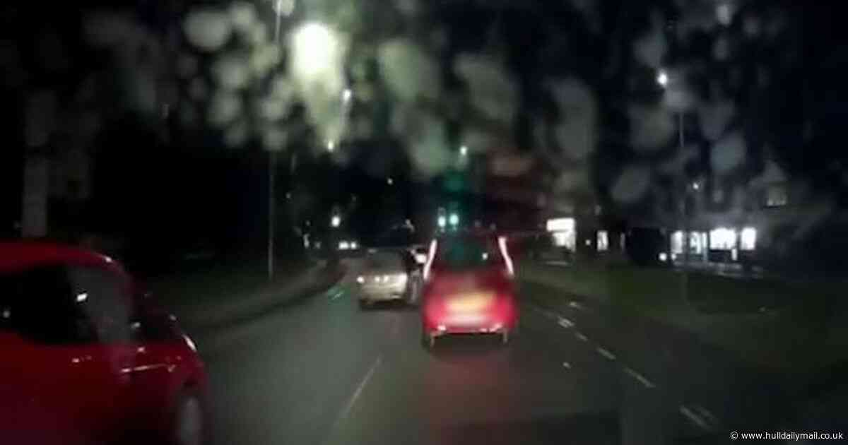 Dashcam captures 'just another d*******' on Hull road