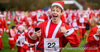 Santa Claus running through town - Orpington turns red and white