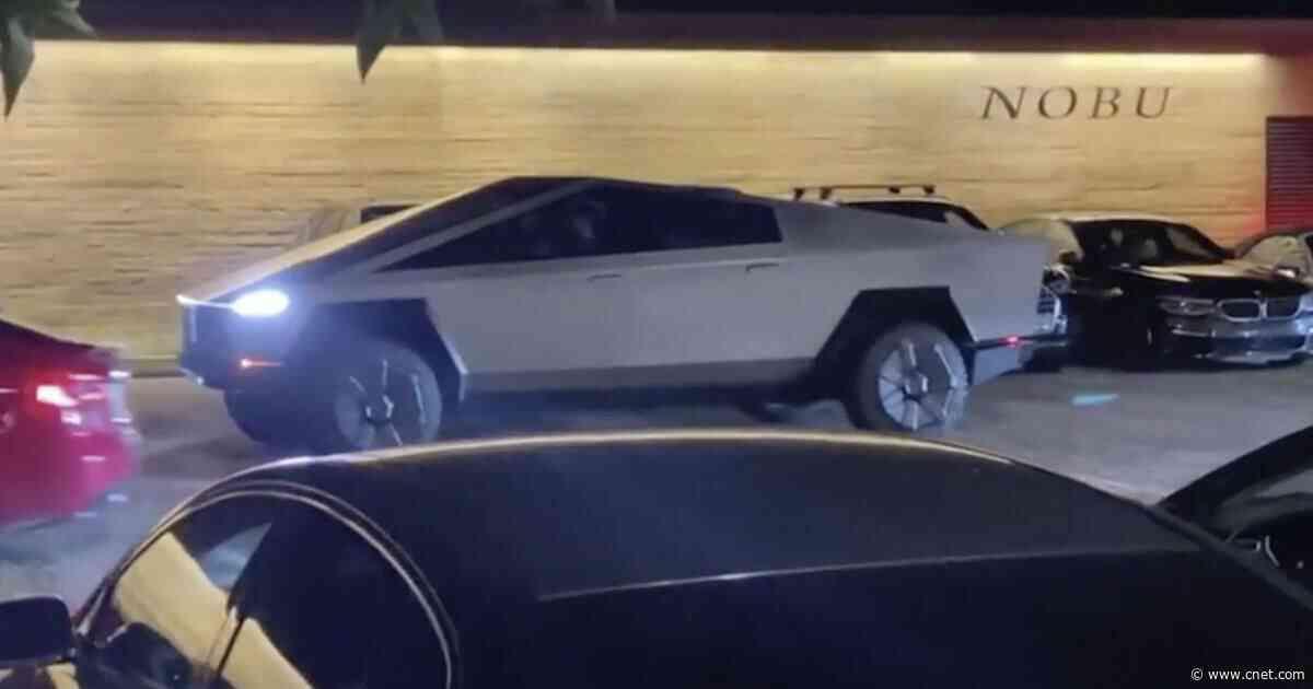 Elon Musk whacks traffic pylon in Tesla Cybertruck     - Roadshow