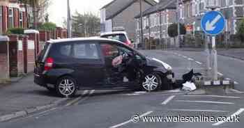 Road closed and woman taken to hospital after crash in Penarth