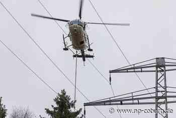 Ruhige Hand: Baumfällarbeiten mit Helikopter-Säge an Stromtrasse