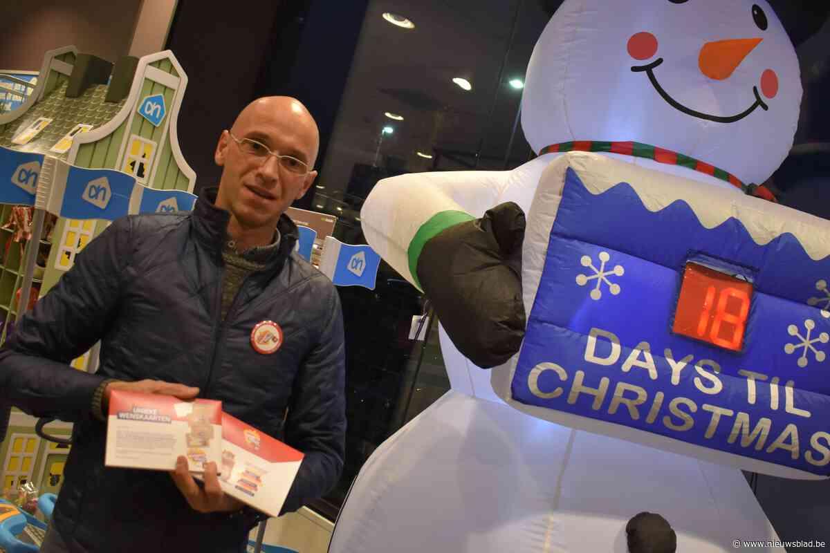 Wenskaarten voor de Warmste Week campagne ten voordele van het Kinderkankerfonds bij Albert Heijn Deinze