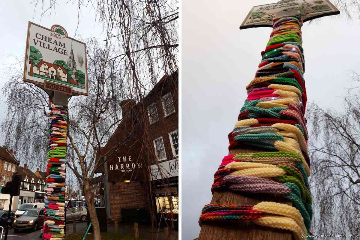 Cheam gets 'yarn bombed' as knitters add a bit of Christmas colour to town