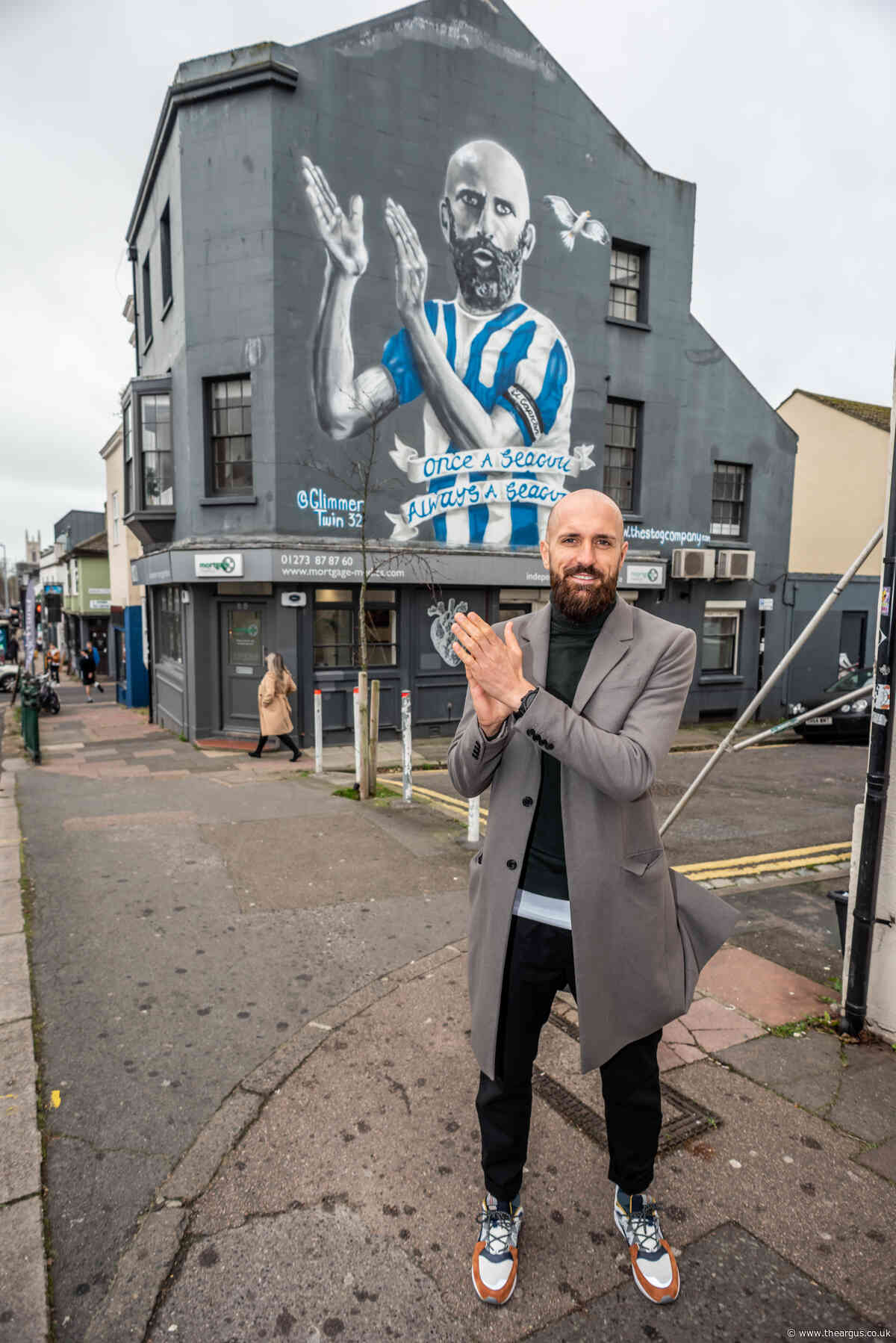 Albion legend Bruno gives new Brighton mural thumbs up