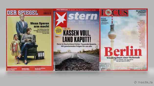 """Cover-Check: """"Der Spiegel"""" steigert sich mit """"Wenn Sparen arm macht"""", der """"Focus"""" fällt mit Berlin-Titel fast auf Minusrekord"""