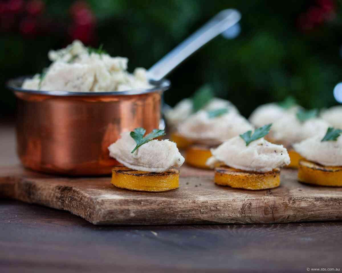 Salt cod mousse on polenta crostini (crostini di polenta con baccalà mantecato)