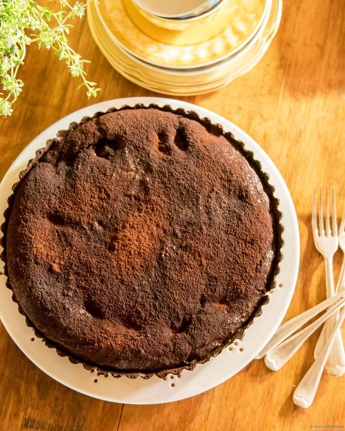 Chocolate, pear and almond tart
