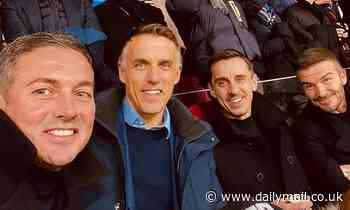 Manchester United heroes David Beckham, Gary Neville and Phil Neville watch Valencia together