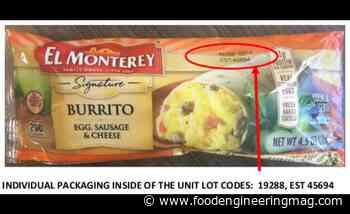 Recalled El Monterey breakfast burritos might contain plastic pieces