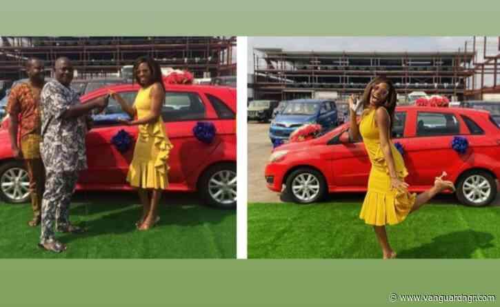 "Reality star, Khafi Kareem receives car prize ""Lady Foxy' Innoson vehicles"