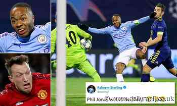 Raheem Sterling mocks Phil Jones after he is caught pulling a silly face during Man City's 4-1 win