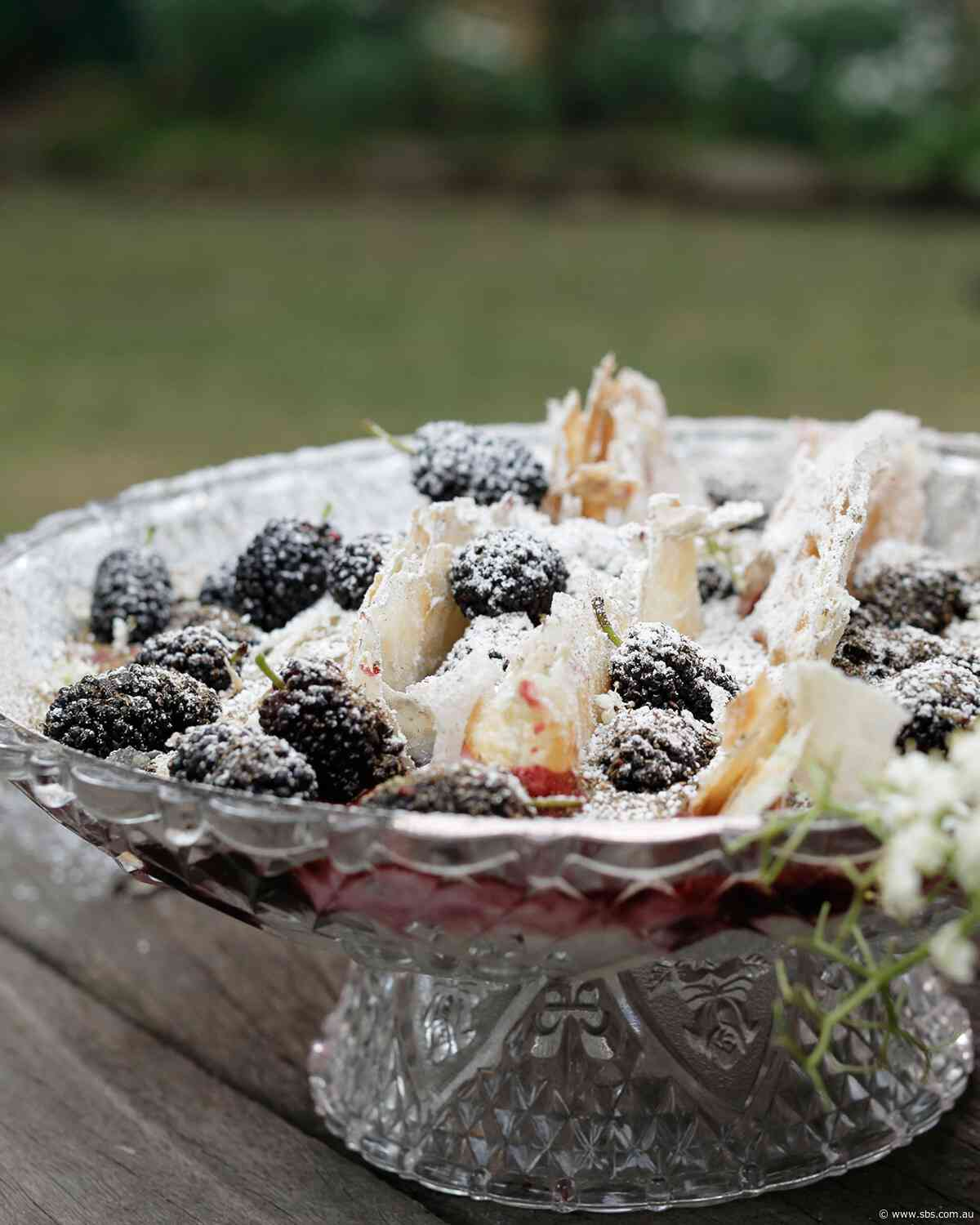Mulberries with yoghurt and flaky pastry