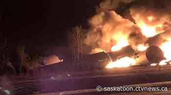 Fiery Sask. train wreck 'a very unusual situation,' rail expert says