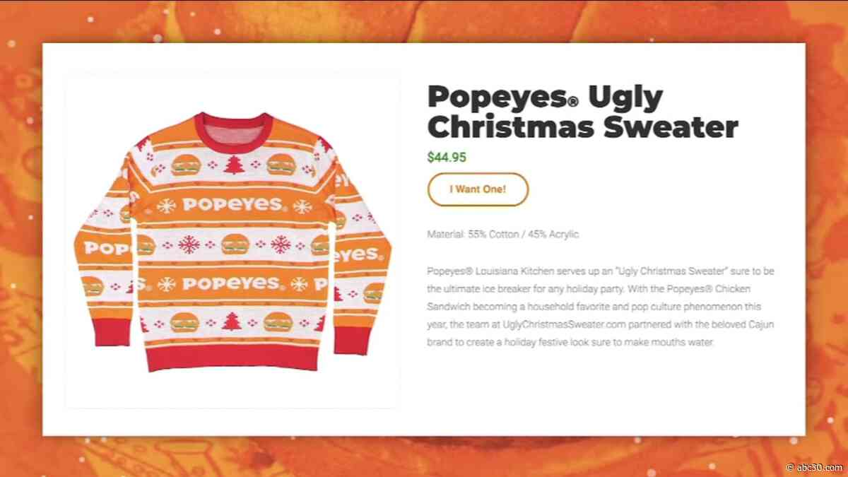 Popeyes releases new chicken sandwich-themed Christmas sweater