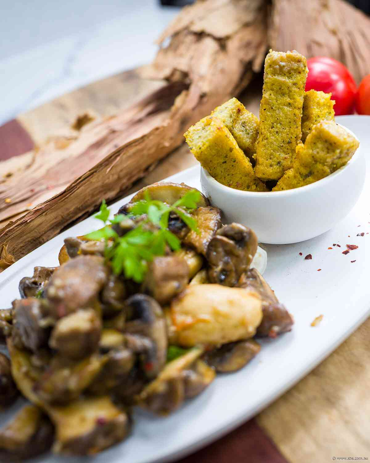 Mixed mushroom ragout with native spice polenta chips