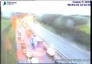 Queuing traffic on M40 near A34 due to crash