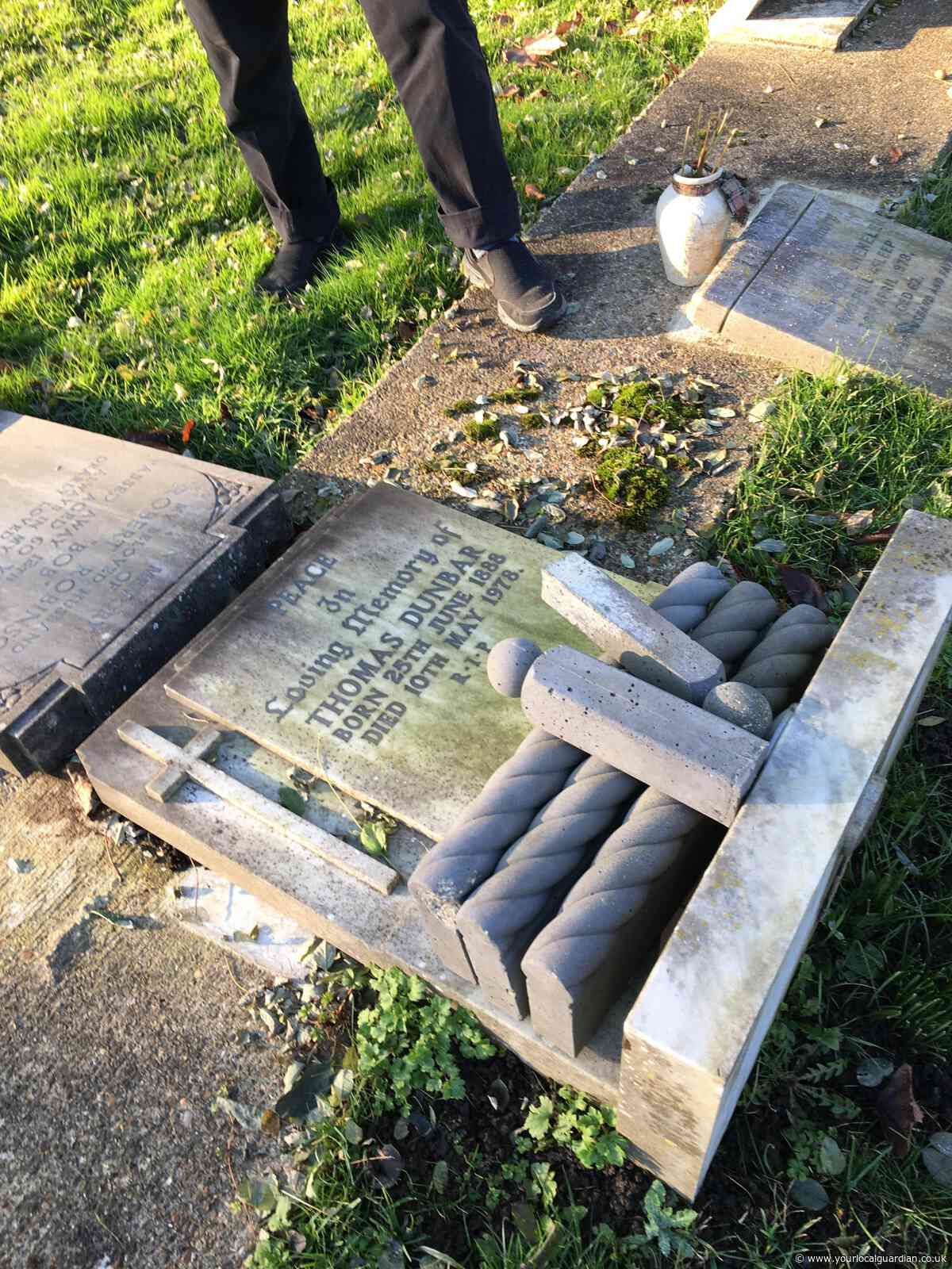 Woman furious as great-grandad's headstone laid flat by council