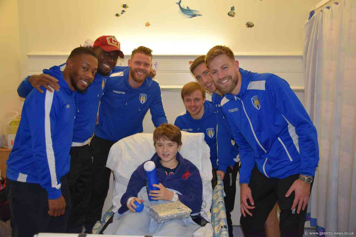 Colchester United players visit children's ward at hospital