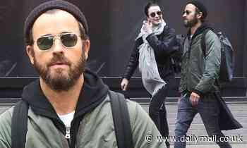 Justin Theroux bundles up as he steps out with Lauren Norvelle in New York City