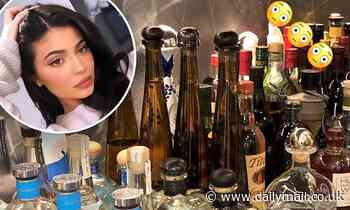 Kylie Jenner packs up dozens of bottles of alcohol as her Hidden Hills home undergoes a renovation