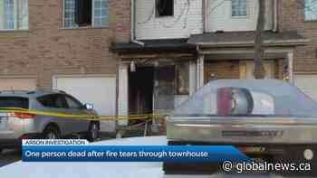 One dead after fire tears through townhouse in Etobicoke