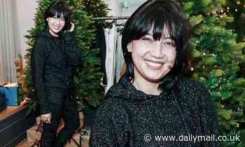 Daisy Lowe nails festive chic in a black bedazzled tracksuit at pre-Christmas party