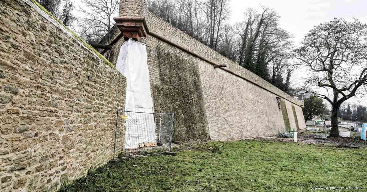 120 Meter Mauer erstrahlen in Mainz