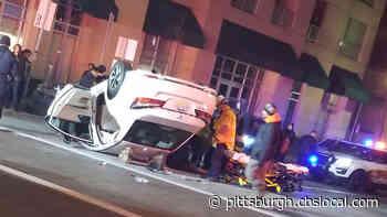 Officials On Scene After Car Flips Over On Fort Duquesne Boulevard
