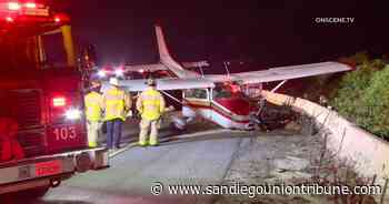 Small airplane makes hard landing on south I-5 in Carlsbad; pilot and passenger uninjured