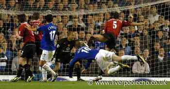 A trademark header at the Gwladys Street - Duncan Ferguson's iconic Everton moment against Manchester United