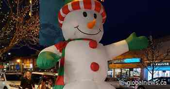 Kerfuffle over location of inflatable Frosty the Snowman on Vernon street