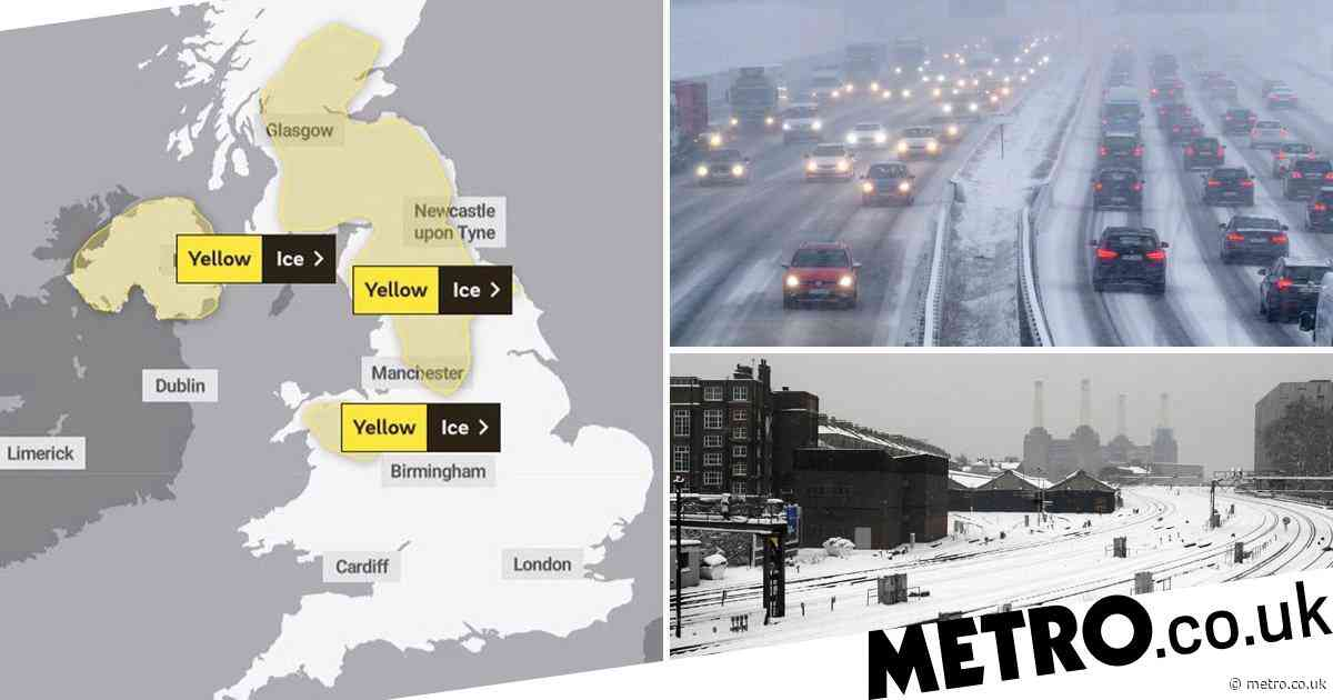 Snow blizzards to hit UK as Met Office issue ice warnings