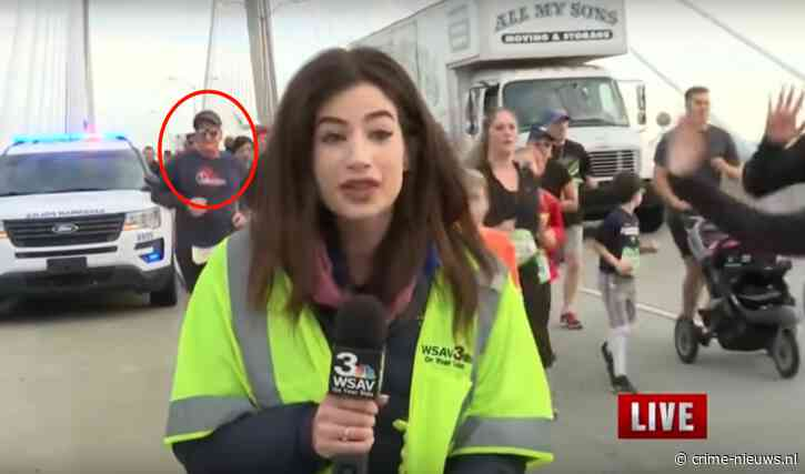 VIDEO: Hardloper opgepakt na live op televisie tik op achterste journaliste
