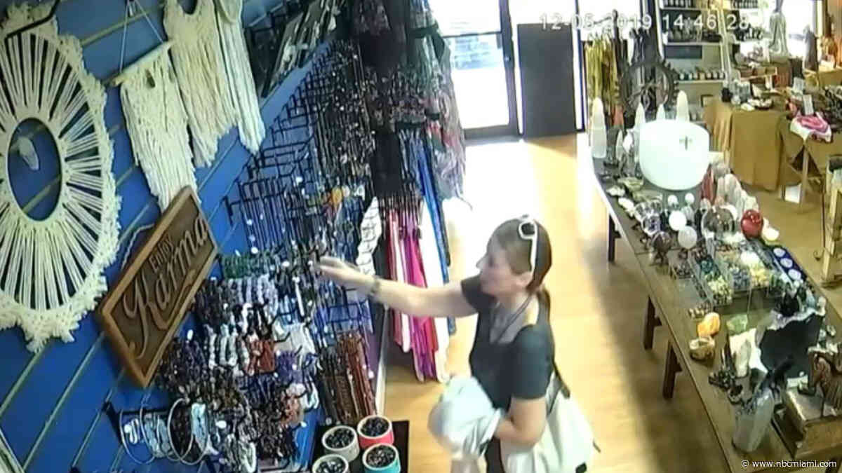 Shoplifter Caught on Camera Swiping Thousands of Dollars Worth of Jewelry from Miami-Dade Shop