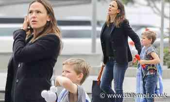 Jennifer Garner hangs with son Samuel while dad Ben Affleck takes daughter Seraphina to soccer