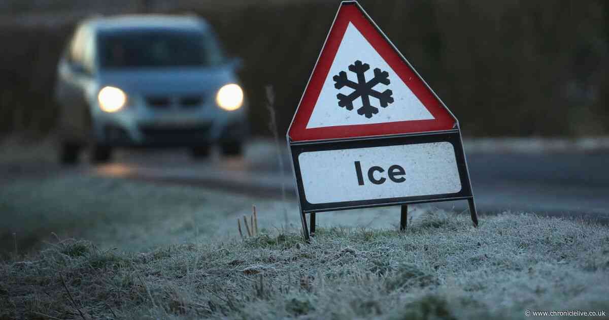 Snow could fall in higher parts of the North East as Met Office issues ice warning