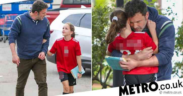 Ben Affleck looks like one proud dad as he hugs daughter Seraphina following football practice
