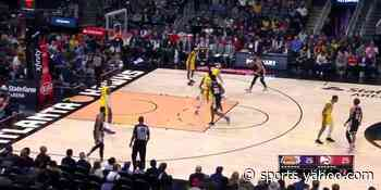 Lebron James fights through traffic for the dunk in the second quarter