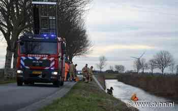 Auto belandt in water bij Warffum, duikers zoeken naar inzittenden